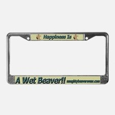 Happiness Is A Wet Beaver License Plate Frame