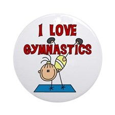 I Love Gymnastics Ornament (Round)