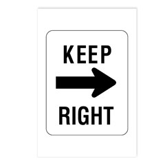 Keep Right Sign - Postcards (Package of 8)