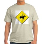 Horse Crossing Sign Ash Grey T-Shirt