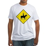 Horse Crossing Sign Fitted T-Shirt