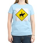 Horse Crossing Sign Women's Pink T-Shirt