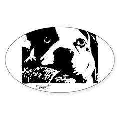 sweet sad dog Oval Sticker