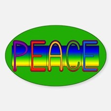 Peace Rainbow Oval Decal