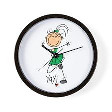 Green Cheerleader Wall Clock