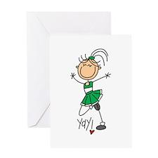 Green Cheerleader Greeting Card