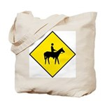 Horse and Rider Sign - Tote Bag