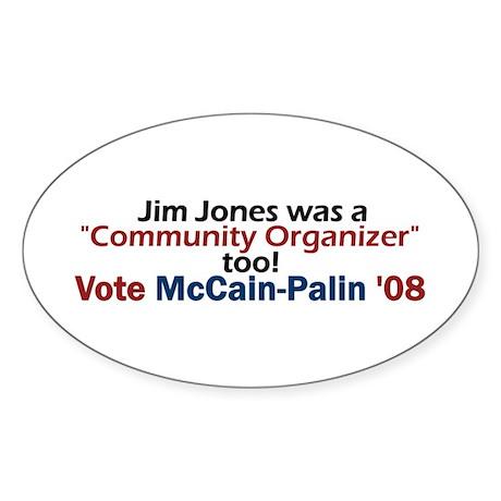 Jim Jones Organizer 2 Oval Sticker
