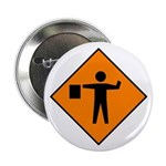 Flagman Ahead Sign - Button