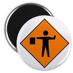 "Flagman Ahead Sign - 2.25"" Magnet (10 pack)"