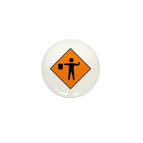Flagman Ahead Sign - Mini Button