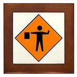 Flagman Ahead Sign - Framed Tile