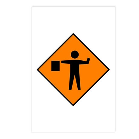Flagman Ahead Sign - Postcards (Package of 8)