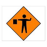 Flagman Ahead Sign - Small Poster