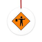 Flagman Ahead Sign - Keepsake (Round)