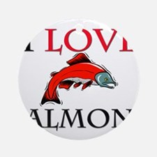 I Love Salmons Ornament (Round)