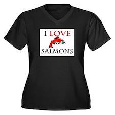 I Love Salmons Women's Plus Size V-Neck Dark T-Shi