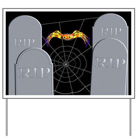 Tombstone and Spider Yard Sign