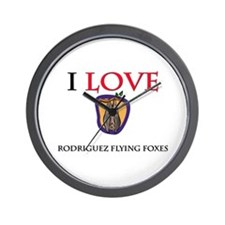 I Love Rodriguez Flying Foxes Wall Clock