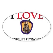 I Love Rodriguez Flying Foxes Oval Sticker