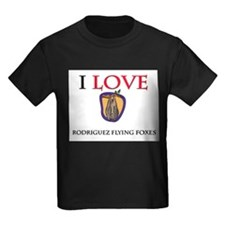 I Love Rodriguez Flying Foxes Kids Dark T-Shirt