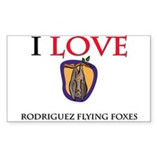 I Love Rodriguez Flying Foxes Rectangle Sticker