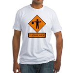 Flagman Ahead Sign 2 Fitted T-Shirt