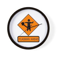 Flagman Ahead Sign - Wall Clock