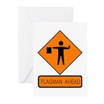 Flagman Ahead Sign - Greeting Cards (Pk of 10)