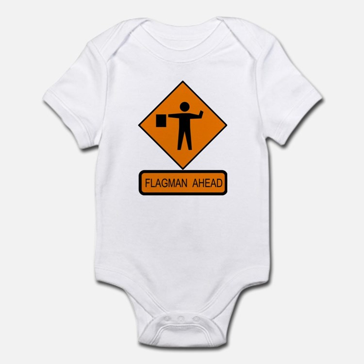 Flagman Ahead Sign - Infant Creeper