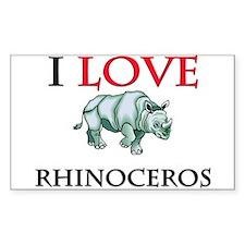 I Love Rhinoceros Rectangle Decal