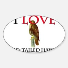 I Love Red-Tailed Hawks Oval Decal