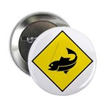Yellow Fishing Sign - Button