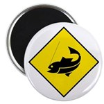 Yellow Fishing Sign - Magnet