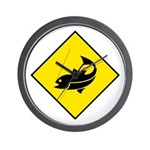 Yellow Fishing Sign - Wall Clock