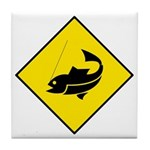 Yellow Fishing Sign - Tile Coaster