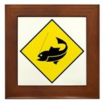 Yellow Fishing Sign - Framed Tile