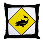Yellow Fishing Sign - Throw Pillow
