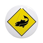 Yellow Fishing Sign - Keepsake (Round)