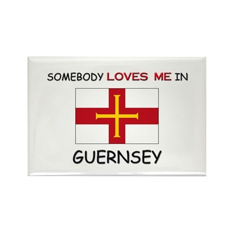 Somebody Loves Me In GUERNSEY Rectangle Magnet (10