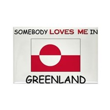 Somebody Loves Me In GREENLAND Rectangle Magnet