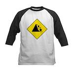 Falling Rocks Sign - Kids Baseball Jersey