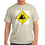 Falling Rocks Sign - Ash Grey T-Shirt