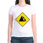 Falling Rocks Sign - Jr. Ringer T-Shirt