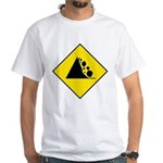 Falling Rocks Sign - White T-Shirt