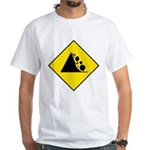 Falling Rocks Sign - White T-Shirt