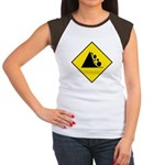 Falling Rocks Sign - Women's Cap Sleeve T-Shirt