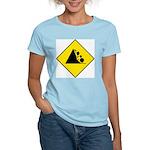 Falling Rocks Sign - Women's Pink T-Shirt