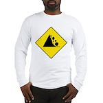 Falling Rocks Sign - Long Sleeve T-Shirt