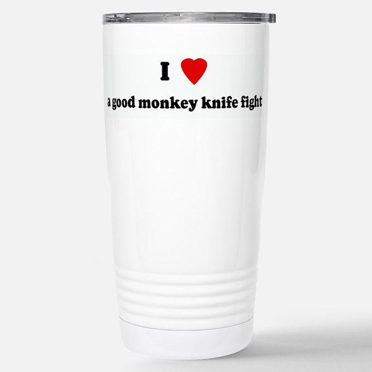 Cute I love sock monkey Travel Mug
